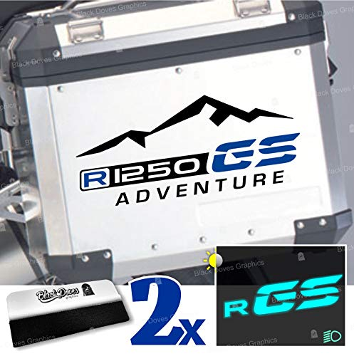 2pcs Adhesivo R1250GS Adventure Compatible con BMW Motorrad R1250 GS R 1250 HP Touratech y GIVI Trekker Outback 37L 48L (Black/Blue)