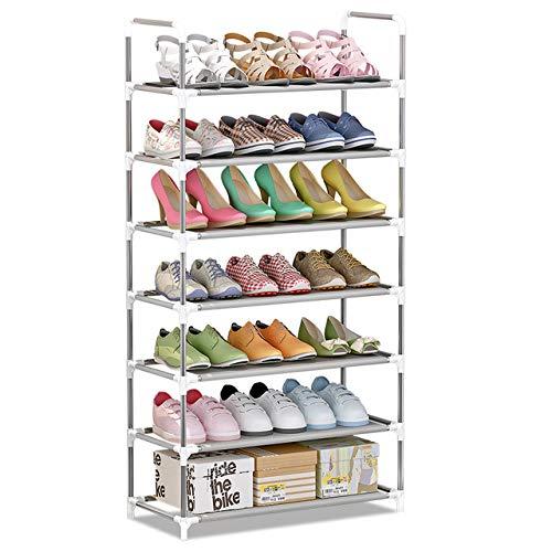 IBEQUEM Zapatero de 7 niveles, apilable y ajustable, organizador de zapatos de tela no tejida, ahorra espacio, armario para salón, vestidor y pasillo