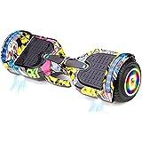 J&Z Hoverboard, Todos Los Terrenos De Dos Ruedas-7'Uniciclos Eléctricos Auto-Alineados Inteligentes con Luces LED De Altavoz Bluetooth Incorporadas para Un Regalo para Niños Adultos,D