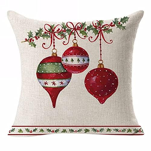 Decoración Navideña Fundas De Almohada Sofá para El Hogar Almohada Año Nuevo Fundas De Almohada De Lino De Navidad Lavable