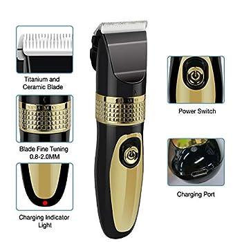 Outil de toilettage pour animaux de compagnie, rechargeable par USB, sans fil, à faible bruit, lavable, pour chiens, chats, chevaux, tondeuses électriques pour animaux avec 4 guides de peigne