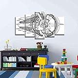 QMCVCDD Cuadros Modernos Impresión De Imagen Artística Digitalizada,5 Piezas Lienzo Decorativo para Tu Salón O Dormitorio Planos del Halcón Milenario