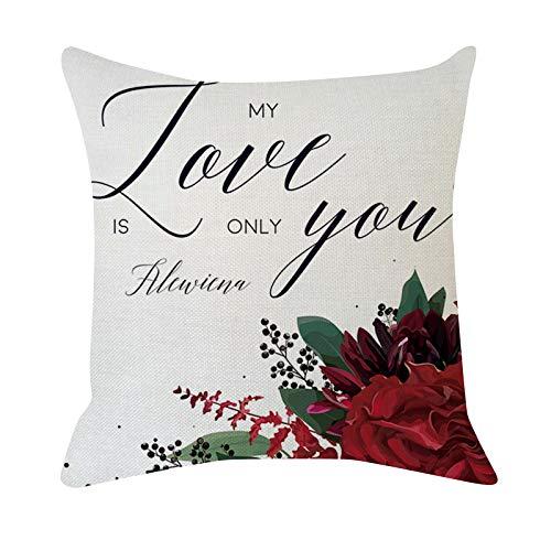 Funda de almohada de San Valentín de 45 x 45 cm para sofá con diseño de rosa roja y corazón dulce para el día de San Valentín, decoración del hogar, funda de cojín de lino sintético para sofá