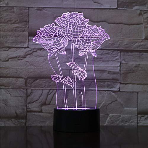 JINYI 3D Night Light Rose Flower, LED Optical Illusion Lamp, Room Decor, C - Touch Crack White(7 Color), Acrylic Panel, Room Lighting, Modern Decor, Kid Lamp, Christmas Gift