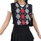 Women's Knit Sweater Vest Y2K Argyle Plaid E-Girls Preppy Style 90s Sleeveless Crop Knitwear Tank Top Streetwear (Black, M)