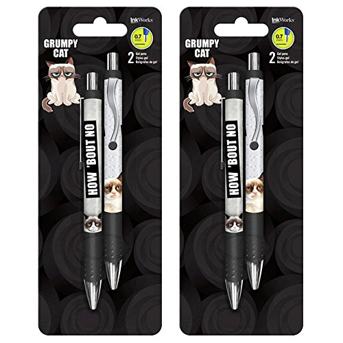 Grumpy Cat Gel Pen Set - 4 Deluxe Pens (Grumpy Cat Office Supplies)