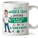MUGFFINS Taza Papá (En Catalán) -'Aquesta Tassa Pertany al Millor Pare de l'Univers' - Taza Desayuno/Idea Regalo Día del Padre. Cerámica 350 mL