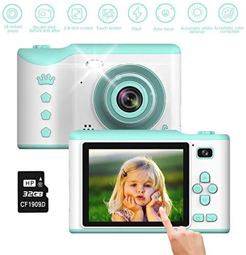 TOYSBBS Kinderkamera, 8MP Digitalkamera mit 2.8 Zoll Touchscreen / 32GB TF-Karte/Foto & Video/Rahmen/Filter, Mini Kamera für 3-12 jährige Kinder, Mädchen, Kinder Spielzeug/Geschenk