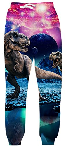 Uideazone Men Women Digital Print Dinosaur Joggers Pants Cool Graphic Sweatpants Dinosaur Medium