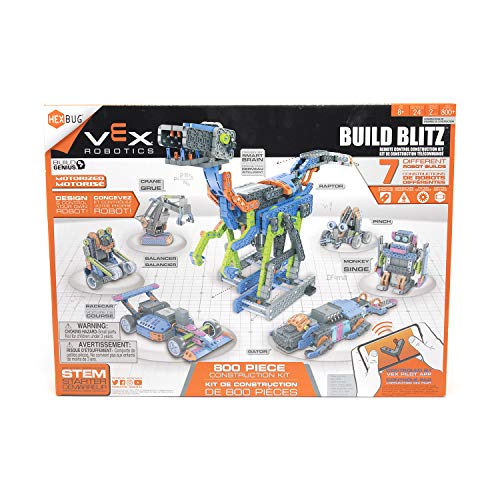 HEXBUG Build Blitz Construction Kit with STEM Sheets, App Controlled Robot (Blue/Orange)