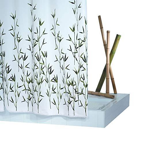 GRUND Duschvorhang BAMBU 180x200 cm weiss-grün