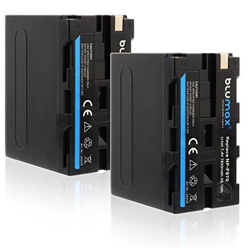 Blumax 2X NP-F970 / NP-F960 Akku mit LG Zellen - kompatibel mit Sony NP-F990 NP-F550 NP-F750 (2X NP-F970-7850mAh Li-Ion 7,4V 58.1Wh)