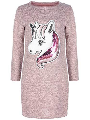 KMISSO Mädchen Pullover Tunika Kleid Einhorn-Motiv Pailletten Langarm Kleider 30222 Schwarz 104