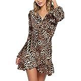 LoveLeiter Womens Sexy V-Ausschnitt Leopard Printed gekräuselten Hem Flare Sleeve Party Wrap Maxikleid(gelb,M)