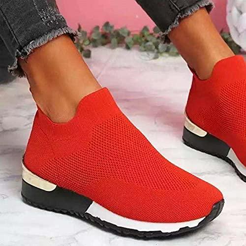 Unisex hardloopschoenen,Lichtgewicht buitensportschoenen,Elastische vliegende geweven sokken schoenen, dames net schoenen-red_38