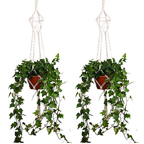 ThreeH Macrame Plant Hanger 4 Patas Algodón Tejido Colgante Soporte de Planta Plant Pot Stand Ideal...