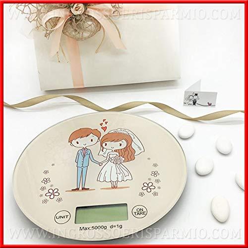 Bilancia digitale da cucina tonda in vetro con sposini, idee originali bomboniere utili matrimonio, articoli per la casa, idee regalo, completa di scatola regalo (con confezione bianca)