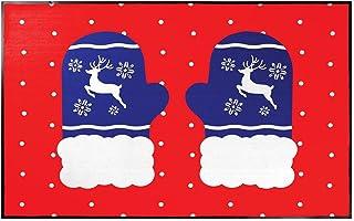 NoTrax Christmas Mittens 2'x3' Seasonal Door Mat with Vinyl Backing for Indoor/Outdoor Use, 195SCM23RD