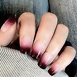 Sethexy Lustroso Uñas falsas Elegante Gradiente Medio Cobertura total Acrílico 24 piezas de uñas falsas para mujeres y niñas