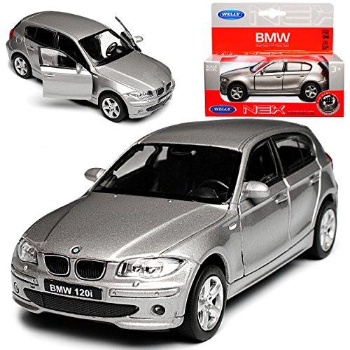 B-M-W 1er E87 1. Generation 5 Türer Grau 2004-2013 ca 1/43 1/36-1/46 Welly Modell Auto mit individiuellem Wunschkennzeichen