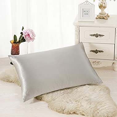 ALASKA BEAR Natural Silk Pillowcase, Hypoallergenic, 19 momme, 600 thread count 100 percent Mulberry Silk, King Size with hidden zipper(1, Grey)