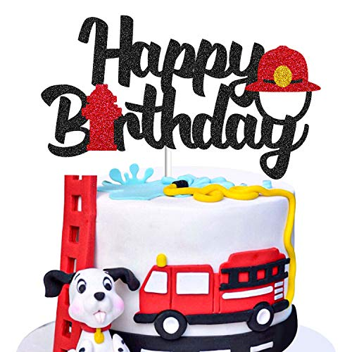 Fireman Cake Topper Birthday Decorations Firefighter Scene Theme Picks for Adults Man Women Event Party Supplies Gold Glitter Decor - 1 Piece Double Sides Glitter