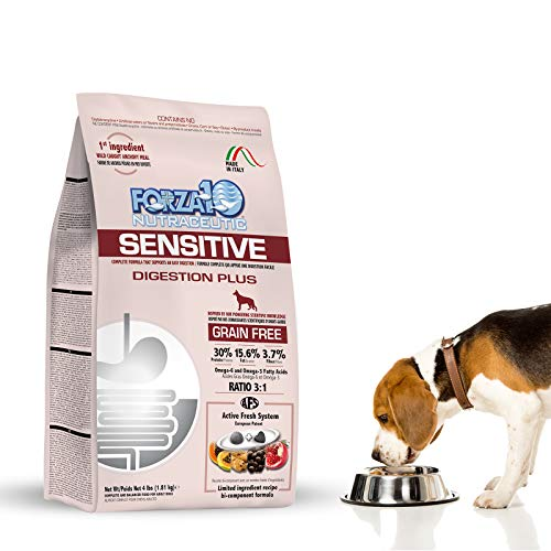 Forza10 Sensitive Stomach Dry Dog Food, (4) Four Pound, Gluten Free, Grain Free, Chicken Free, Highest Quality Ingredients All Natural, Veterinarian Recommended No Prescription Required