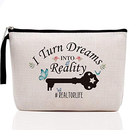 Realtor Gifts for Women-I Turn Dreams into Reality-Realtor Makeup Bag, Real Estate Agent Gifts, Closing Gifts for Realtors Birthday