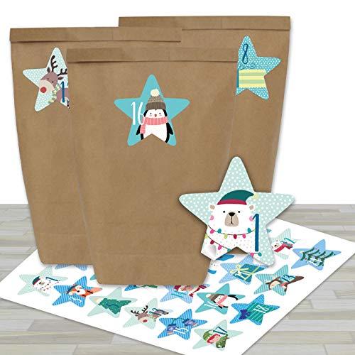 24 Sacs en Papier pour Calendrier de l'Avent avec Autocollants - Motif Étoiles Bleues - 39