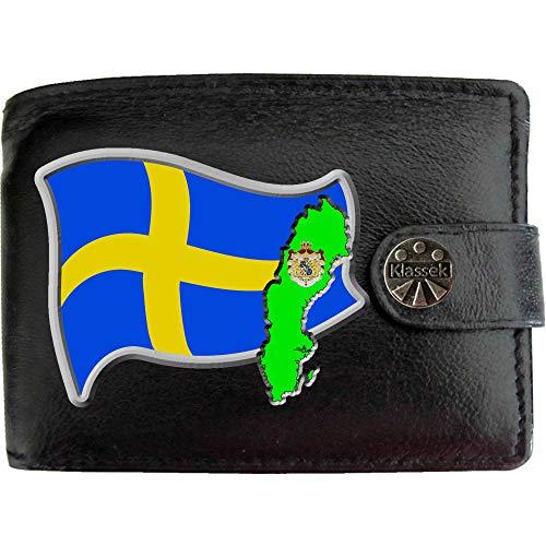 Sweden Flag Schweden Flagge Karte Wappen Bild auf KLASSEK Marken Herren Geldbörse Portemonnaie Echtes Leder RFID Schutz mit Münzfach Zubehör Geschenk mit Metall Box