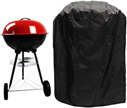 YUI BBQ Barbecue Grill Cover Round, Waterproof, Sunproof and Dustproof, Rainproof, Windproof and UV Protection, Polyester, Black, 90×70cm
