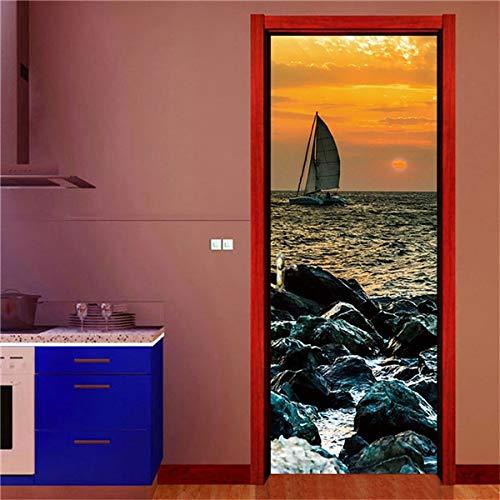 DFKJ Etiquetas engomadas Creativas de la Puerta 3D Autoadhesivo Impermeable Papel Pintado DIY decoración del hogar calcomanías Deursticker A26 77x200cm