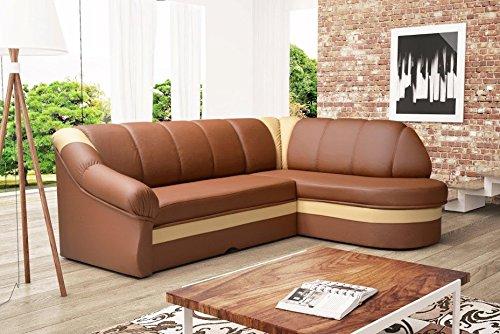Unbekannt Divano BeNano Eck divano angolare divano marrone in Eco Pelle con Funzione letto 01277