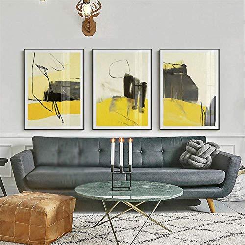 LWJZQT canvas, 3-delig, decoratie thuis, Noors, canvas, abstract, kleur, afbeelding, woonkamer, hal, slaapkamer, hotel, wand, kunstlinnen