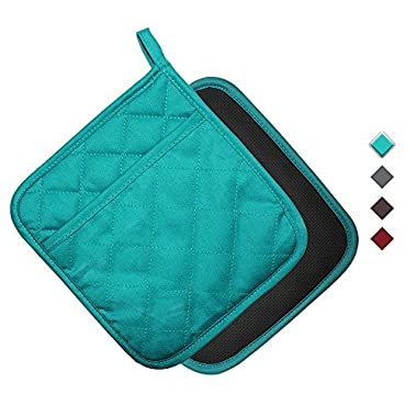 YEKOO Cotton and Neoprene Oven Pot Holder with Pocket 8 x8.5  Dual-Function Hot Pad Set for Finger Hand Wrist Protection Heat Resistant to 428°F Teal