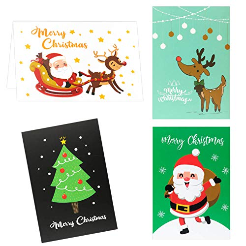 """12Pcs Christmas Greeting Cards with Envelopes Featuring 4 Assorted Designs featuring Santa Reindeer Xmas Tree and Traditional Yuletide Images 4""""x6"""""""
