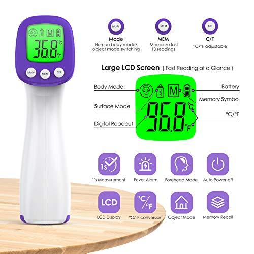 konjac 2 IN 1 Termometro frontale, Termometro Febbre Infrarossi Senza Contatto a Retroilluminazione Tricolore e Display LCD, Termometro Digitale Professionale per Adulti Neonati Bambini