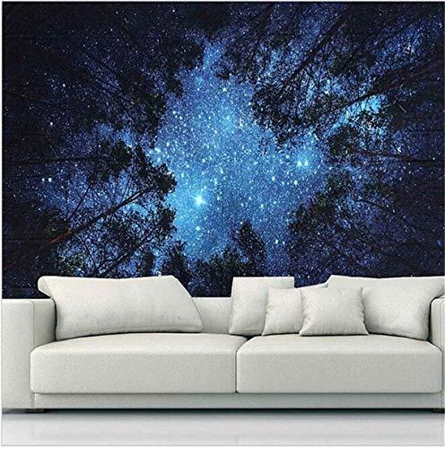 Árbol bosque cielo estrellado tapiz colgante de pared psicodélico hippie mandala paisaje tapiz arte tela de fondo A8 73x95cm