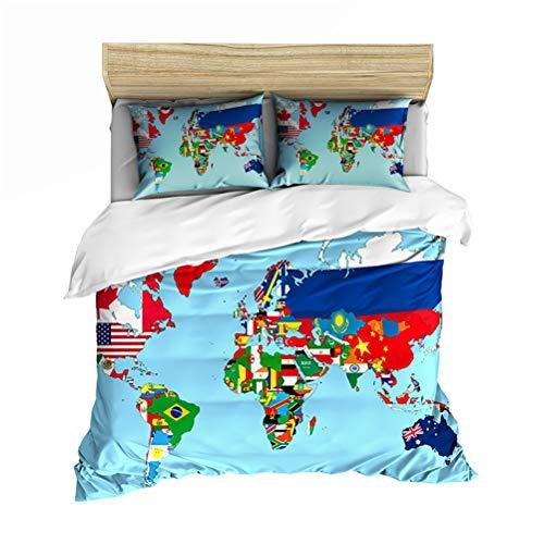Wereldkaart Bedding dekbedovertrek, zachte microvezel, kleurrijk, quiltule, tweepersoonsbed, set met 2 kussenslopen 50 x 75 cm 140cm×210cm Map6