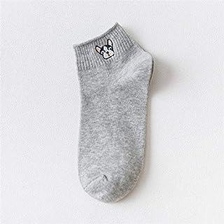 Calcetín de algodón para Mujer Calcetines para Mujer Bordado de algodón Patrón de Perro Calcetines Cortos Calcetín de Tobillo de Verano Calcetines Casuales Femeninos