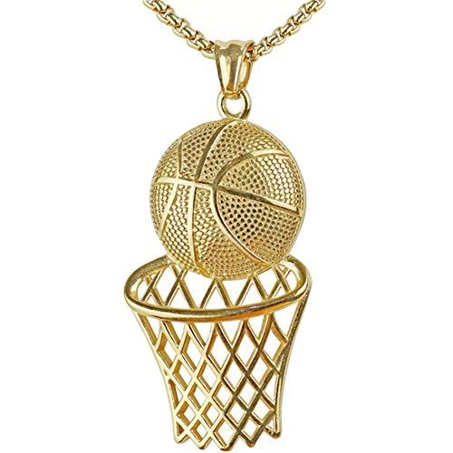 Hip Hop Gefror Heraus Vergoldete CZ Intarsien Basketballkorb Anhänger Kreative Halskette Goldkette Herren Fasching Goldfarben,Gold