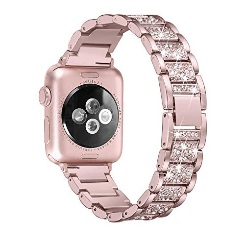 Fhony Correa de Diamante para Apple Watch Cinturino 38mm 40mm 42mm 44mm Correas de Recambio Pulseras Correas Acero Inoxidable para Iwatch SE Series 6 5 4 3 2 1 Ajustable Correa,Rose Pink,40mm