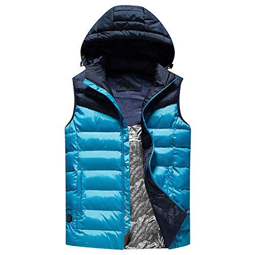 JJDD'G Gilet Chauffant électrique Lavable, Recharge USB Veste Chauffante Vêtements Chauffés Veste pour Activités de Plein Air Chasse Randonnée en Ski Pêche Camping,Bleu,5XL