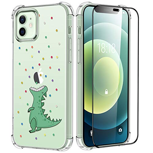 Compatible with iPhone 12/12 Pro Cute Green Dinosaur Clear Case with Screen Protector, Slim Soft Flexible TPU with Protective Bumper Shockproof Cover with Embossed Design for Girls Women, 6.1 inch