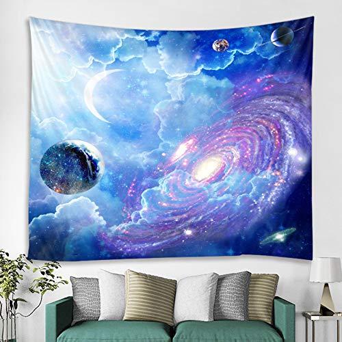 GenericBrands Tapiz psicodélico Nebulosa de la Galaxia Cielo Estrellado Luna Estrellas místicas Fondo Fondo Tela Espacial Decoración del Dormitorio Tela Colgante