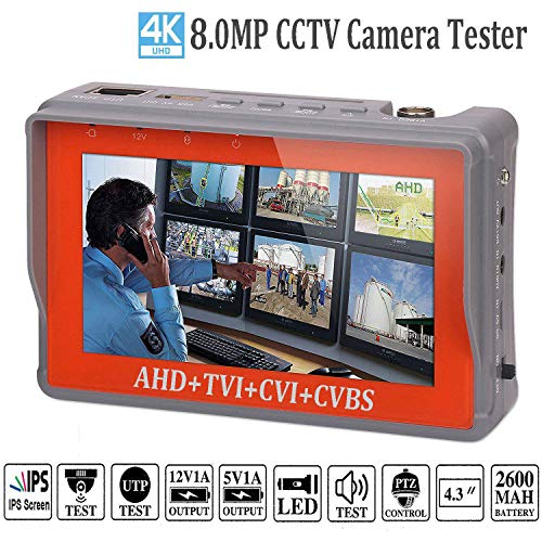 4 in 1 CCTV Tester for 1080P/3.0mp/4mp/5mp/8.0 Megapixel AHD, TVI, CVI, CVBS Analog Security Camera, 4.3 Inch IPS LCD Screen Video Monitor,12V 1A DC Out,PTZ/UTP Cable/Audio Tester w/ 2600mAh Battery