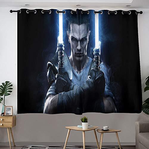 MRFSY Cortinas opacas para sala de estar, Sam Witwer Star Wars Force sin atar, cortinas opacas y forro aislante térmico, cortinas con ojales para sala de estar/dormitorio de 2014 x 2014 cm