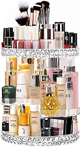Ubitree Organizer na kosmetyki do makijażu, obracany o 360°, do sypialni, łazienki, przezroczysty