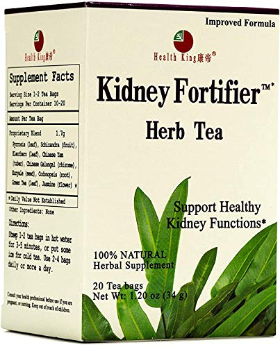 Health King Kidney Fortifier Herb Tea, Teabags, 20-Count Box (Pack of 4)