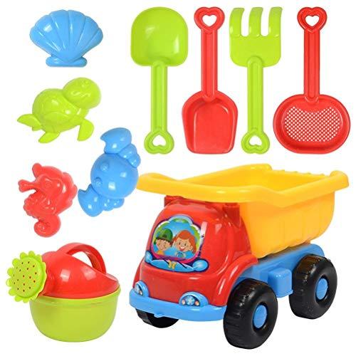 Hspemo Juego de juguetes de playa de verano para niños, juego de arena, divertido juguete de playa para exteriores, reloj de arena, pala, cubo